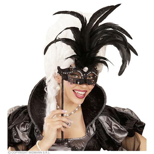 oogmasker met stokje, zwart luxe versie