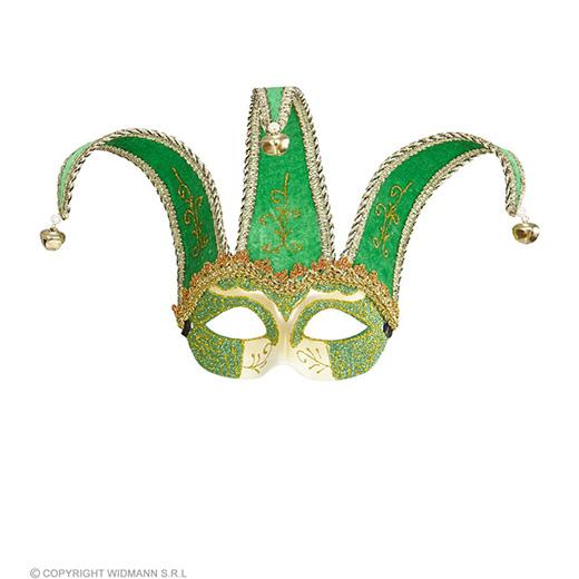 oogmasker, joker met decoratie glitters, groen