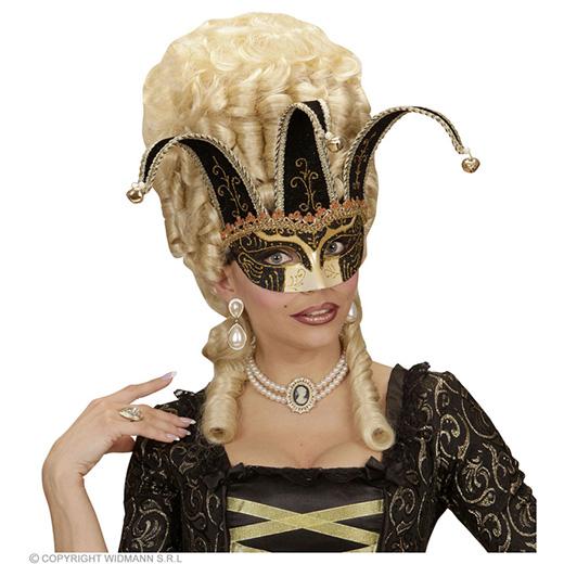 oogmasker, joker met decoratie glitters, zwart