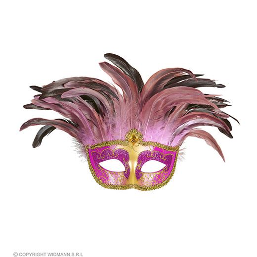masker countess met glitters en veren, rose