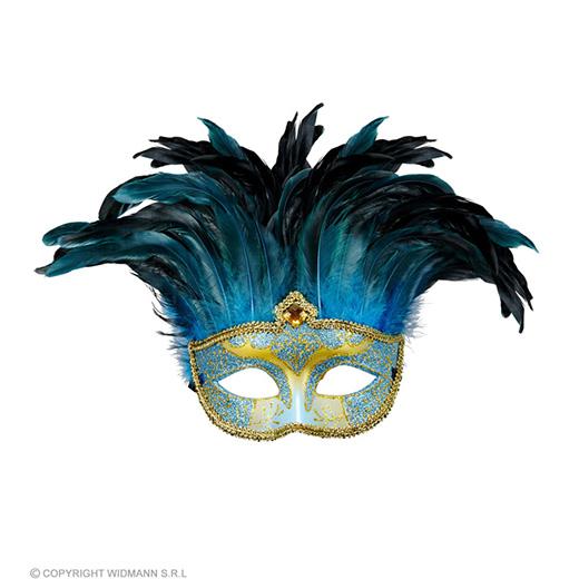 masker countess met glitters en veren, blauw