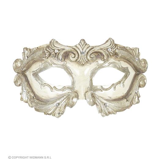 luxe barok colombina masker ivoor met strass