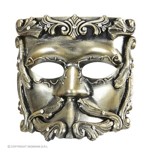 luxe barok casanova masker in brons met strass