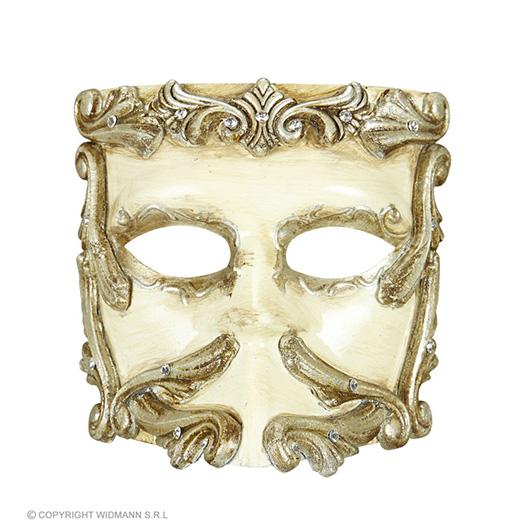 luxe barok casanova masker ivoor met strass