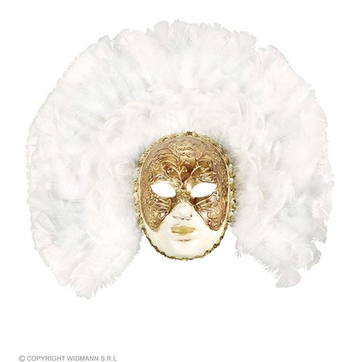 luxe fidelio masker met witte veren