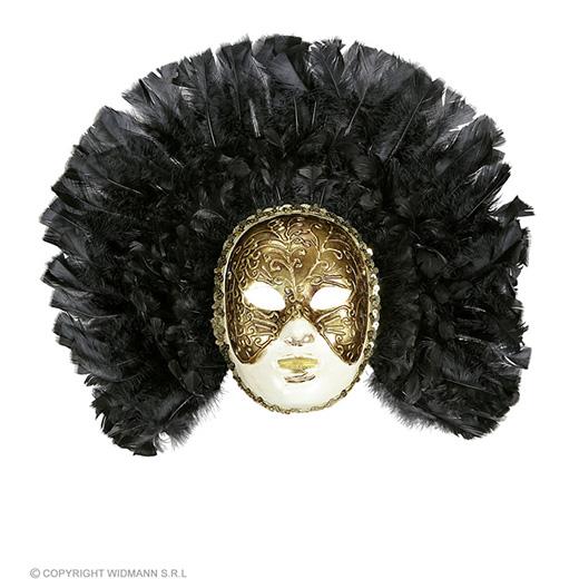 luxe fidelio masker met zwarte veren