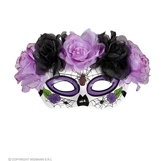 oogmasker dia de los muertos met paars/zwarte rozen
