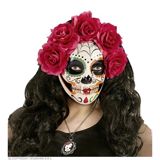 masker dia de los muertos met rode rozen