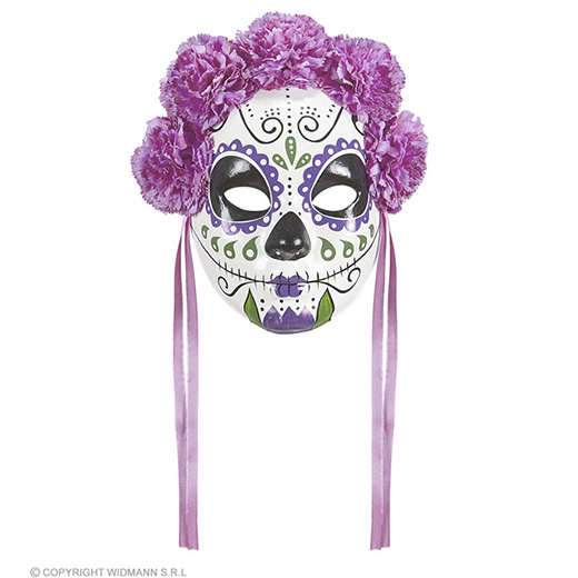 masker dia de los muertos met paarse rozen