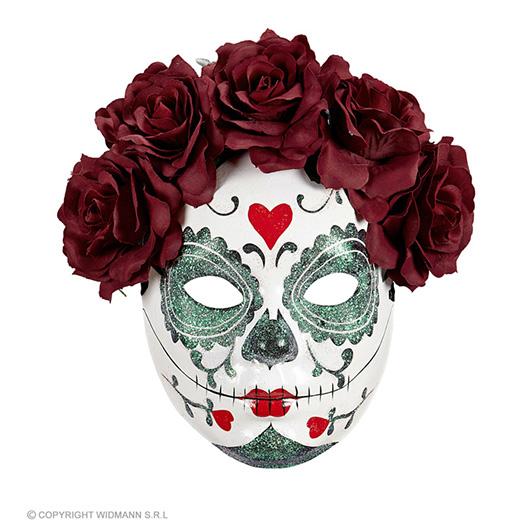 masker dia de los muertos met burgundy rozen