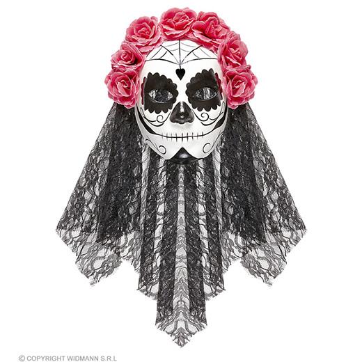 masker dia de los muertos met sluier en rose rozen