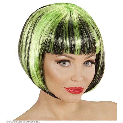 pruik, streaks zwart/groen