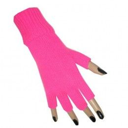Vingerloze handschoenen neonroze