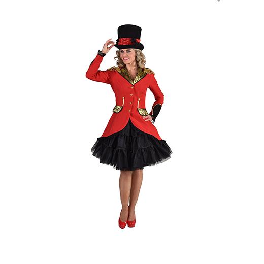 Hoge hoed zwart met rood