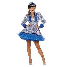 Luxe damesjasje jaquard blauw