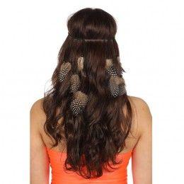 Haarband gevlochten met naturel veren