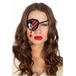 Ooglapje piraat zwart/rood