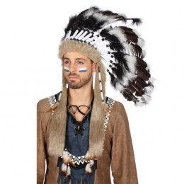 Indianentooi groot zwart/wit-beige