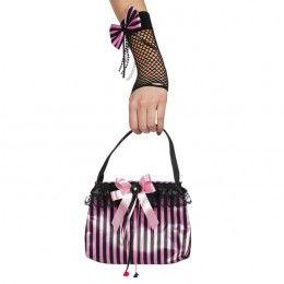 Tas roze/zwart gestreept