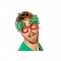 Bril rood met kerstboom