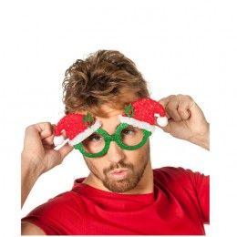 Bril groen met kerstmuts