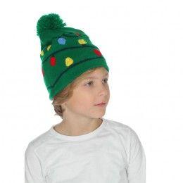 Muts met kerstlichtjes groen (met licht)