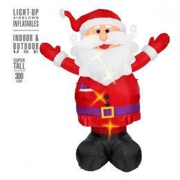 Kerstman opblaasbaar met licht 300 cm.