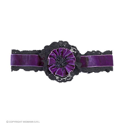 nekband fluweel paars met bloem