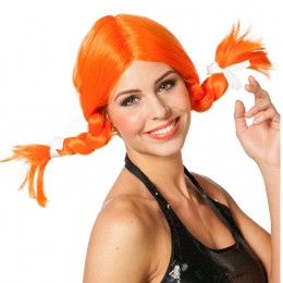Oranje pruik met vlechtjes
