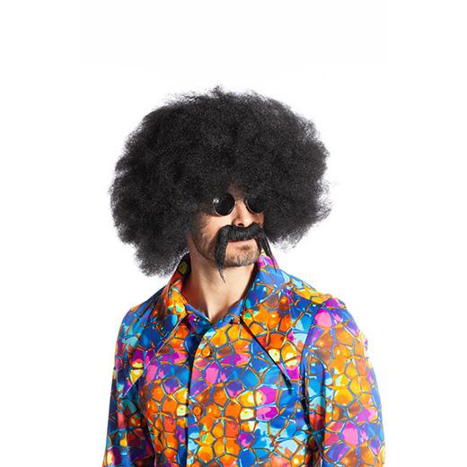 Afro met snor