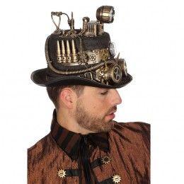 Steampunk hoed met mijnlamp (licht)