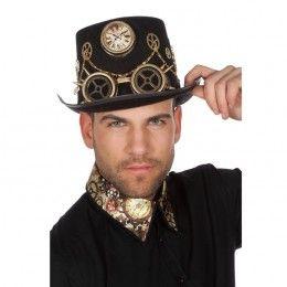 Steampunk hoed met bril zwart met goud