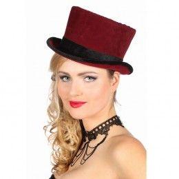Hoge hoed bordeaux rood