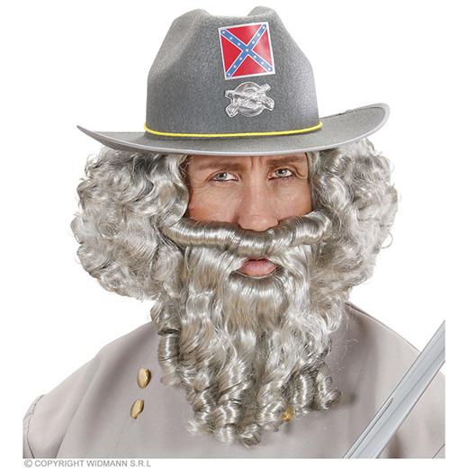 pruik, karakter met lokken en baard, grijs