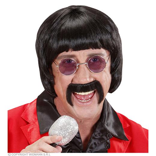 pruik, popster 60's zwart met snor en bril