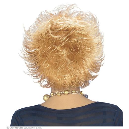 pruik, wet look blond, in doos