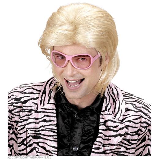 pruik, wetlook lang haar man blond