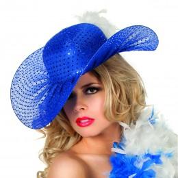 Golvende hoed pailletten blauw