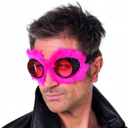 Pilotenbril met pluche roze