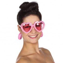 Roze Hartjes Bril met steentjes