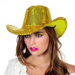Cowboyhoed pailletten goud