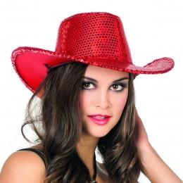Cowboyhoed pailletten rood