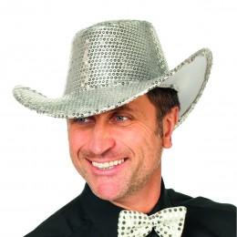 Cowboyhoed pailletten zilver