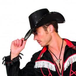 Cowboyhoed pailletten zwart