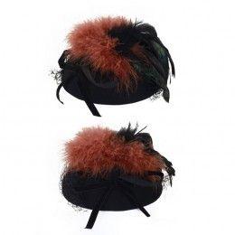 Dames hoedje luxe wolvilt met veren