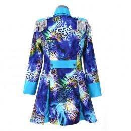 Carnavalsjasje luxe blauw met panterprint lang