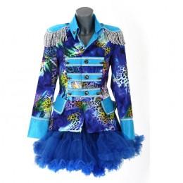 Carnavalsjasje luxe blauw met panterprint kort
