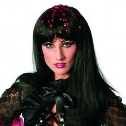Disco queen met steentjes zwart/rood