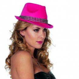 Gangsterhoed met strass band neon-pink