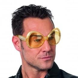 Grote bril met steentjes goud met gele glazen